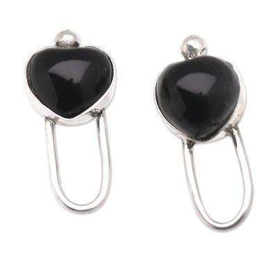 Onyx and Sterling Silver Heart-Motif Drop Earrings