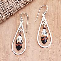 Garnet dangle earrings, 'Feather in Your Cap' - Sterling Silver and Garnet Dangle Earrings