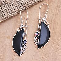 Garnet dangle earrings, 'Cupid's Arrow' - Garnet and Sterling Silver Crescent Dangle Earrings