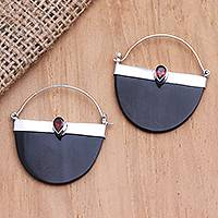 Garnet drop earrings, 'Basket of Beauty' - Artisan Crafted Garnet and Sterling Silver Drop Earrings
