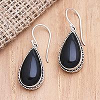Buffalo horn dangle earrings, 'Midnight Drizzle' - Sterling Silver and Buffalo Horn Teardrop Dangle Earrings