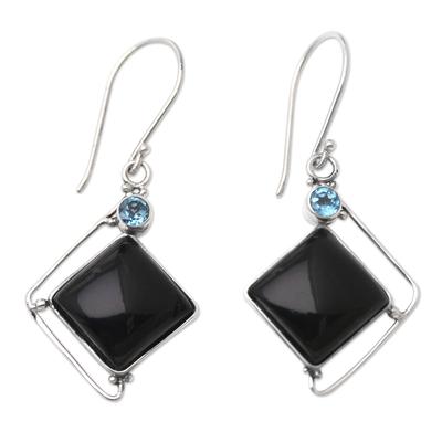 Handmade Onyx and Blue Topaz Dangle Earrings