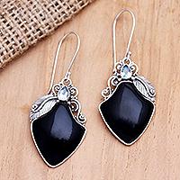 Onyx and blue topaz dangle earrings, 'Midnight Ice' - Balinese Onyx and Blue Topaz Dangle Earrings