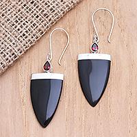 Garnet dangle earrings, 'True Confidence' - Hand Made Garnet Dangle Earrings