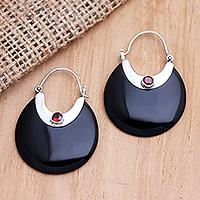 Garnet dangle earrings, 'Kindness is King' - Handmade Sterling Silver and Garnet Dangle Earrings