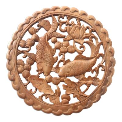 Hand Made Suar Wood Fish-Motif Relief Panel