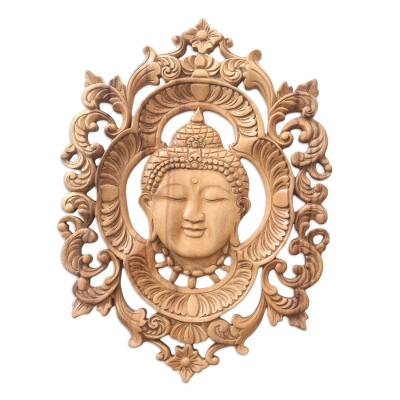 Artisan Crafted Suar Wood Buddha-Motif Relief Panel