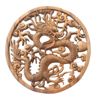 Hand Carved Suar Wood Dragon-Motif Relief Panel