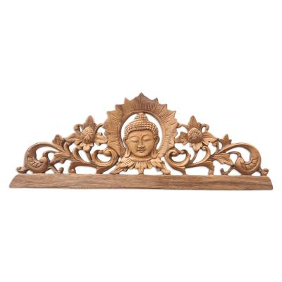 Handcrafted Suar Wood Buddha-Motif Relief Panel