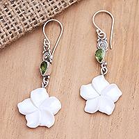Peridot dangle earrings, 'Springtime Frangipani' - Sterling Silver and Peridot Floral Dangle Earrings