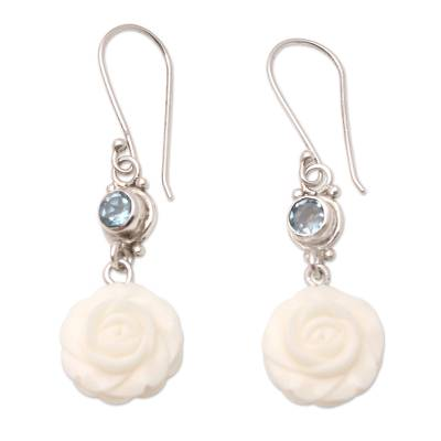 Blue Topaz and Sterling Silver Floral Earrings