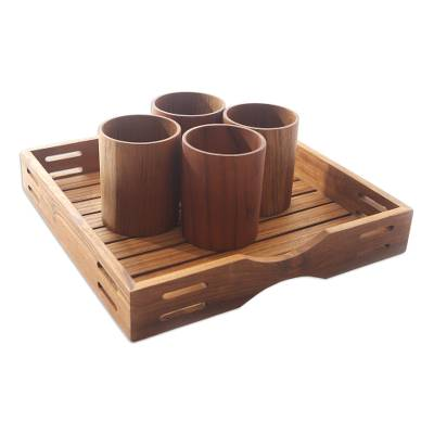 Artisan Crafted Teak Wood Tray from Bali