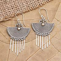 Gold-accented dangle earrings, 'Summer Wind' - Gold-Accented Sterling Silver Dangle Earrings