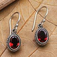 Garnet dangle earrings, 'Soft Music in Red' - Handcrafted Sterling Silver and Garnet Dangle Earrings