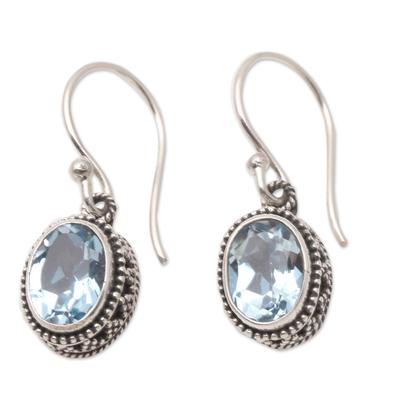 Handmade Sterling Silver and Blue Topaz Dangle Earrings