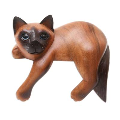 Hand Carved Wood Chocolate Siamese Cat Statuette
