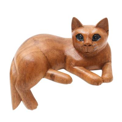 Artisan Crafted Suar Wood Cat Statuette