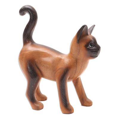 Hand Made Suar Wood Cat Statuette