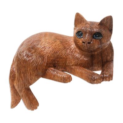 Artisan Made Suar Wood Cat Statuette