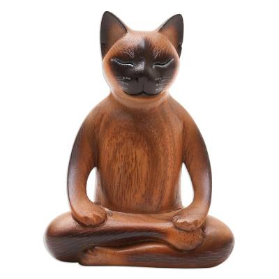 Handcrafted Suar Wood Cat Statuette