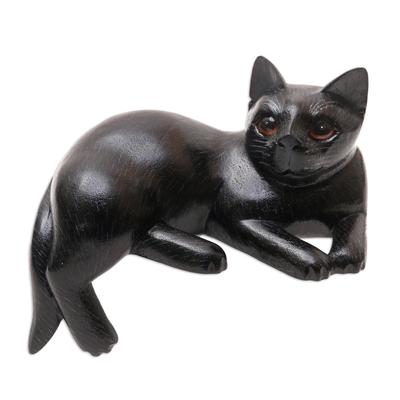 Black Suar Wood Cat Statuette from Bali
