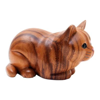 Hand Painted Suar Wood Cat Statuette