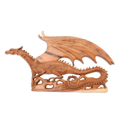Suar Wood Dragon-Motif Relief Panel