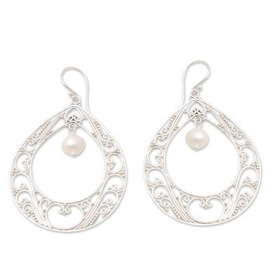 Cultured pearl dangle earrings, 'Keep Your Cool' - Sterling Silver and Cultured Pearl Dangle Earrings