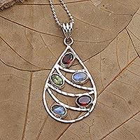 Multi-gemstone pendant necklace, 'Rainbow Skyline' - Garnet and Rainbow Moonstone Pendant Necklace