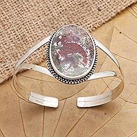 Agate cuff bracelet, 'Supernatural Charm' - Sterling Silver and Agate Cuff Bracelet from Bali