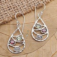 Multi-gemstone dangle earrings, 'Rainbow Skyline' - Hand Made Peridot and Garnet Dangle Earrings