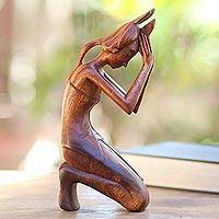 Wood statuette, 'Praying Woman'