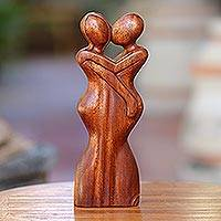 Wood statuette, 'Anniversary Embrace' - Javanese Indonesian Handcrafted Suar Wood Sculpture