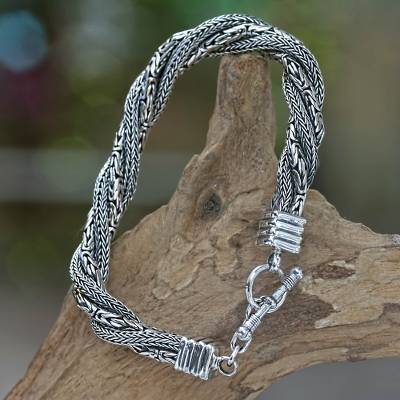 Men's sterling silver bracelet, 'Weave of Life' - Men's Indonesian Sterling Silver Bracelet