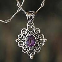 Amethyst pendant necklace, 'Lilac Scroll'