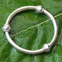 Sterling silver bangle bracelet, 'Suggestive Trio' - Women's Handcrafted Sterling Silver Bracelet