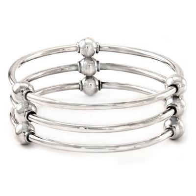 Sterling silver bangle bracelet, 'Cosmic Trio' - Sterling Silver Bangle Bracelet from Indonesia