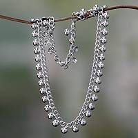 Sterling silver chain necklace, 'Island Dew'