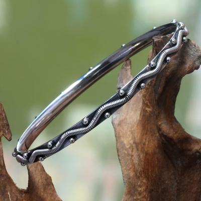 Sterling silver bangle bracelet, 'Ocean Waves' - Sterling silver bangle bracelet