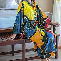 Women's batik robe, 'Paradise Peacock' - Women's Batik Patterned Robe