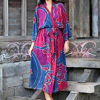 Women's batik robe, 'Exotic Blue'