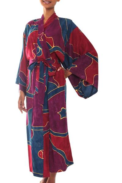 Women's batik robe, 'Exotic Blue' - Women's Batik Patterned Robe