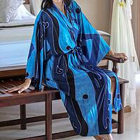 Women's batik robe, 'Tropical Sea'