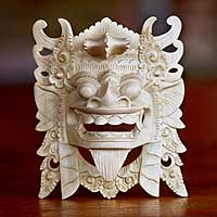 Wood mask, 'Barong II' - Lion God Mask Hand-carved Crocodile Wood