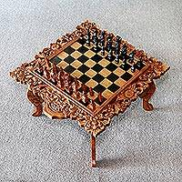 Wood chess set, 'Rama' - Religious Carved Chess Set