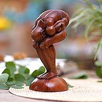 Wood statuette, 'Bending Yogi' - Handcrafted Wooden Sculpture from Bali and Java