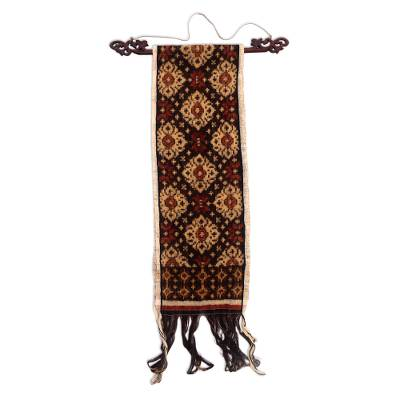 Ikat cotton wall hanging, 'Modern Diamond' - Hand Woven Ikat Wall Hanging from Indonesia