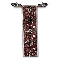 Cotton ikat wall hanging, 'Discus Motif' - Ikat Wall Hanging and Rod