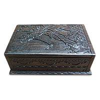 Ebony jewelry box, 'Rama and the Golden Deer' - Ebony jewellery box