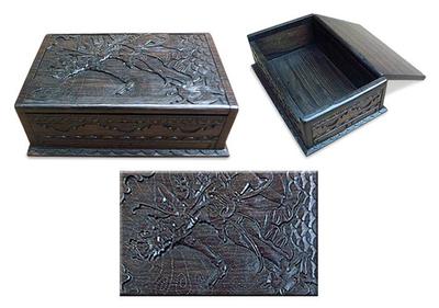 Ebony jewelry box, 'Rama and the Golden Deer' - Ebony jewellery box